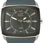 Armani Exchange Leather Charcoal Grey Dial Men's Watch