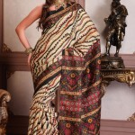 Beige-and-Black-Cotton-Silk-Casual-Printed-Saree