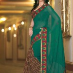 Floral-Aura-Dark-Green-Printed-Saree-Gallery