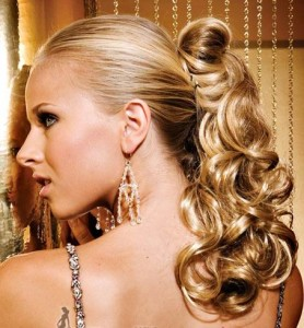 CURLY HAIR STYLE WITH PONYTAIL