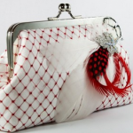 Stylish Red and white clutch