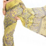 Yellow-Printed-Saree-Style-for-Girls