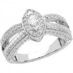 14K White Gold Diamond   Ring-latestasianfashions.com