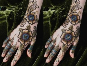 Glitter hand Mehndi latest designs