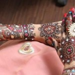 Stylish stone studded bridal mehndi design