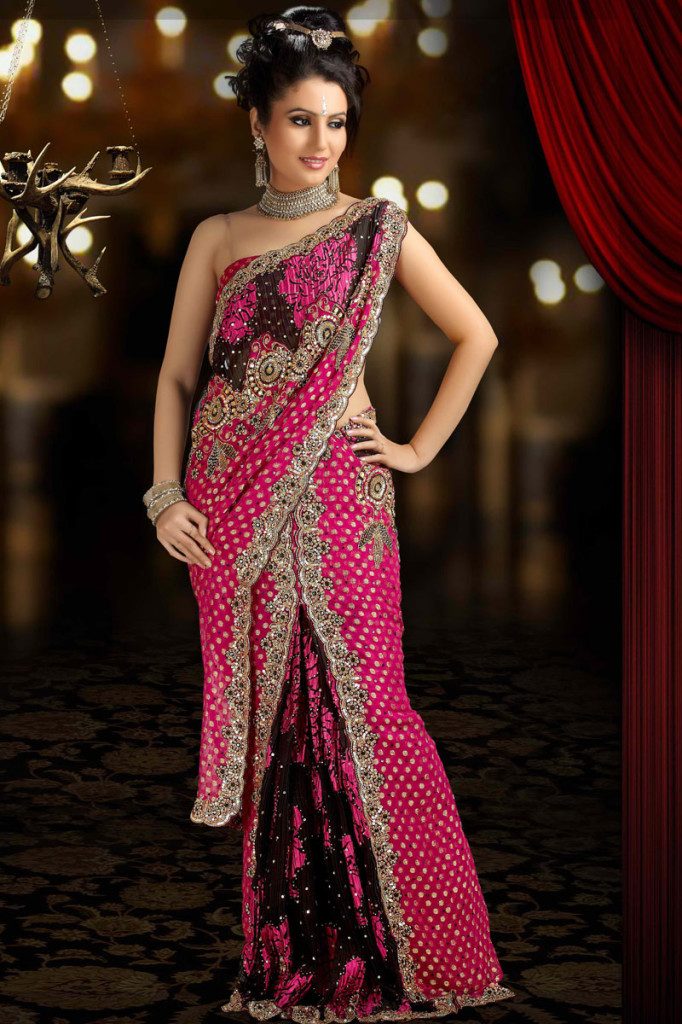 latest indian saree designs 2012 party wear embroidered
