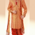 Orange and Red Sherwani for men