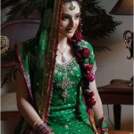 green bridal mehndi makeup