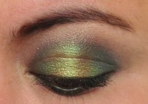 Emerald and gold eye makeup