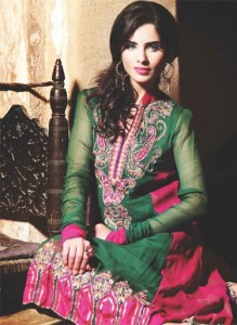Emerald green dresses pakistani 2013