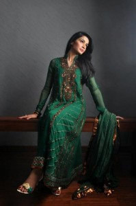 Emerald green pakistani dress 2013