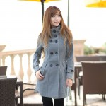 High neck woolen coat design