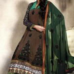 Anarkali frocks in green color