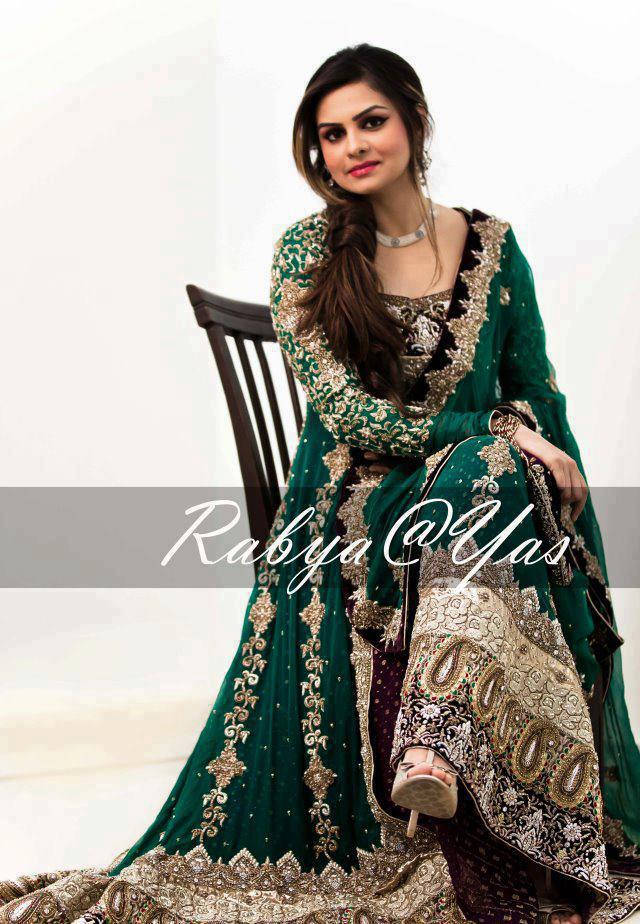 Green party dresses - Pakistani dresses in green color