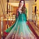 Emerald green bridal frocks