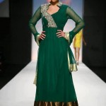 Frock designs in green shade 2013
