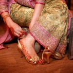 Golden bridal shoes