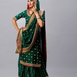 Green bridal long shirt lehnga