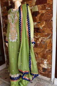 Green embroidered dress
