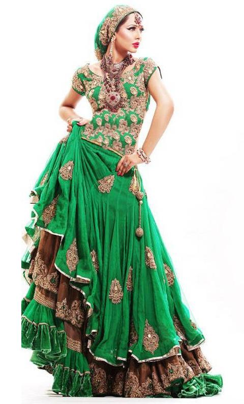 Apple green color in pakistani dresses