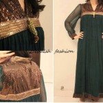 Pakistani formal dresses in green color