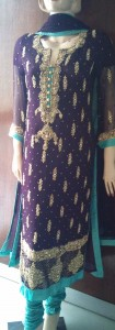 Purple and sea green pakistani dress