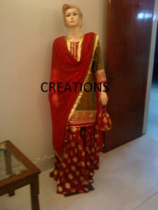 Red and green bridal sharara