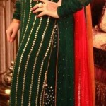 Red and green party dress