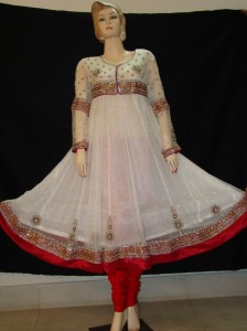 Red and white fancy frock design