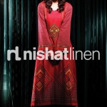 Red winter dress Nishat linen collection