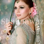 bridal makeup with green dress