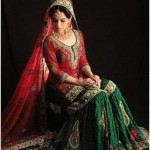 green and red bridal sharara 2013