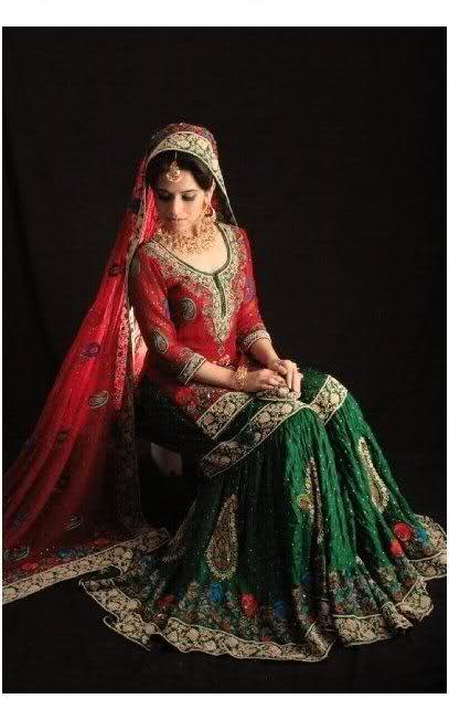 Green bridal dresses – Latest bridal dresses designs 2013 Gold And White Indian Dress