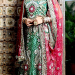 red and green Wedding Bridal Lehengas Choli