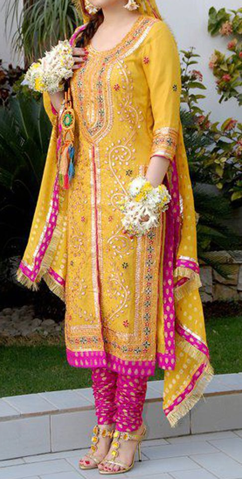 Mehndi Bridal Dress : Pakistani bridal mehndi dresses dress