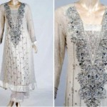 Silver and white stone work pakistani dresses