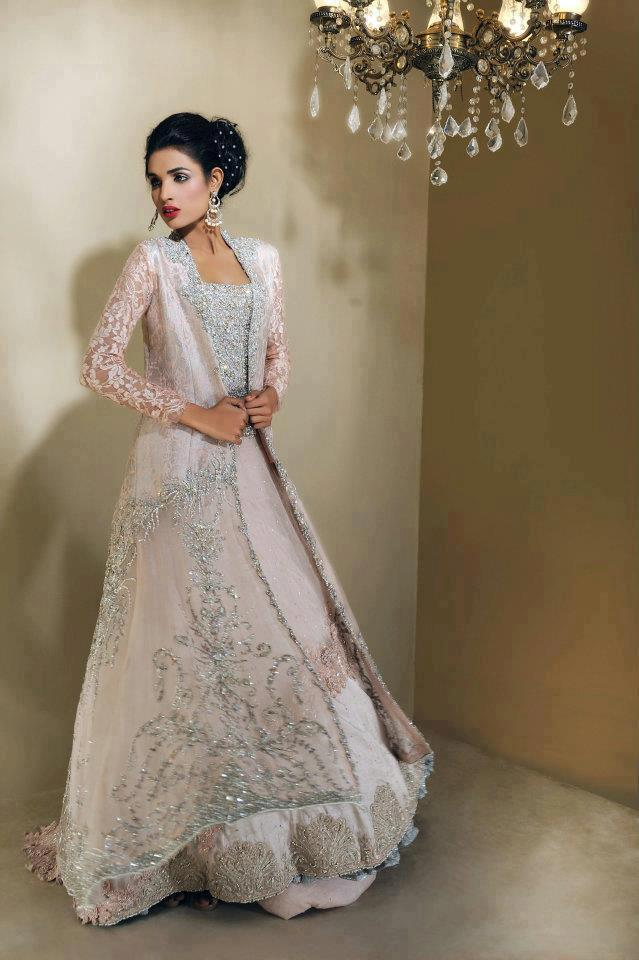Pakistani bridal gowns collection 2013 new bridal gown for Long sleeve indian wedding dresses