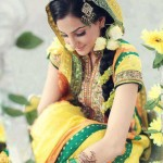 Yellow and green bridal mehndi dress