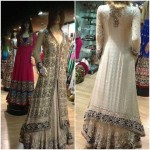 white bridal long shirt and lehnga