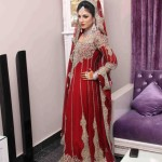 Bridal gown in red color