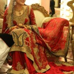 Bridal lehngas in red color