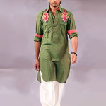 Designers kurtas in green color