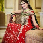 Red bridal dress in maxi style