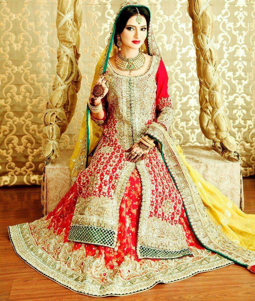 Bridal dresses in red color - Traditional Pakistani bridal dresses