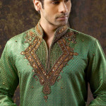 green indian kurta designs for groom