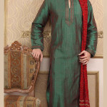 men kurta designs in green color