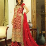 pakistani bridal long shirts in red color