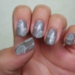 Grey white nail art designs
