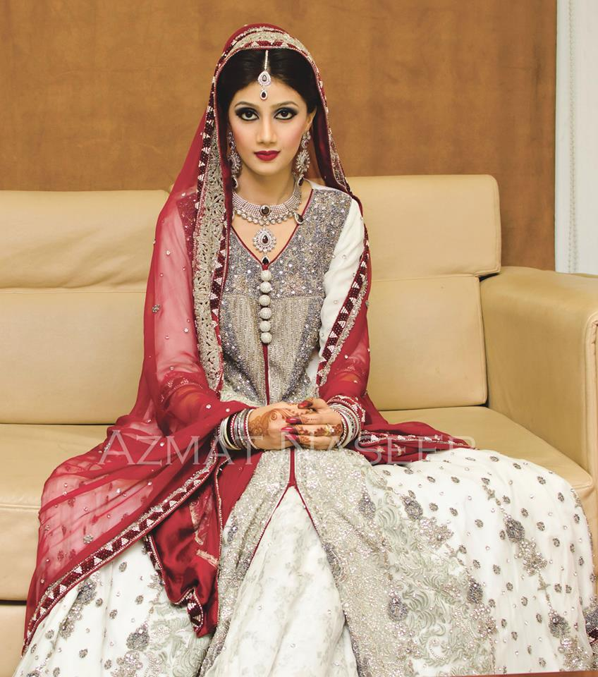 Pakistani Bridal Dresses 2014 For Walima In Red And White