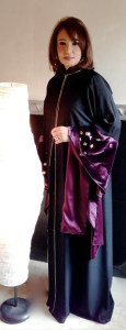 Dubai abaya design in black and purple color
